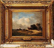 Léon Victor DUPRÉ (1816-1879)  Paysans près de la chaumière Sur sa toile d'origine (Blanchet) Signé en bas à droite 19 x 25 cm  On its original canvas, Signed lower right, 7,4 x 9,8 in.