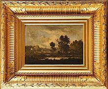 Léon RICHET (1847-1907) Paysage à l'étang Huile sur panneau  Signé en bas à gauche 15,5 x 22 cm  Oil on panel, Signed lower left, 6,1 x 8,6 in.