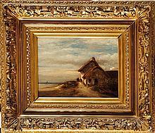 Jules DUPRÉ (1811-1889)  La chaumière près de la mer Sur sa toile d'origine (Blanchet) Signé en bas à gauche 19 x 25 cm  On its original canvas, Signed lower left, 7,4 x 9,8 in.