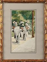 A. HAFFNER (XIXème siècle) La promenade à dos d'éléphant au bois de Boulogne Aquarelle et gouache Signé et daté 1900 en bas à droite 29 x 16,5 cm  Watercolour and gouache, Signed and dated 1900 lower right, 11,4 x 6,4 in.
