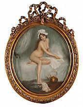 Pierre CARRIER-BELLEUSE (1851-1932/33)  La Toilette Pastel Signé et daté 1908 en bas à droite 54 x 75 cm  Pastel, Signed and dated 1908 lower right, 21,2 x 29,5 in.