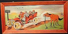 A Molynk, « Poursuite » et « Procès Verbal ». Paire de lithographies représentant des scènes automobiles humoristiques, c1905, 43 x 88 cm, encadrées.