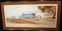 Ernest Montaut 1879-1909, « Coupe des voiturettes 1908 » 1er Naudin, 2ème Sizaire, 4ème Lebouc sur voiturettes Sizaire & Naudin, 45 x 90 cm, encadré.