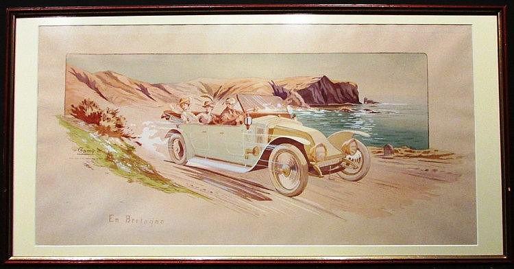 Gamy, (Présumée Marguerite Montaut) « En Bretagne », 45 x 90 cm, encadré.