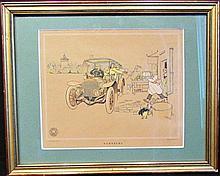 Lot de 2 illustrations de René Vincent pour Berliet : « Nurnberg » et « La Berliet en Espagne ».