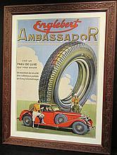 Affiche Englebert Ambassador, 1935, avec le joueur de polo, Pneu de luxe, encadré.