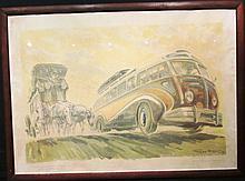 Geo Ham « L'autocar et la diligence » 1948, offset encadré.