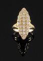 BAGUE MARQUISE en or jaune, ornée de diamants de taille brillant,  Poids brut : 9,1 g TDD : 57 - 58