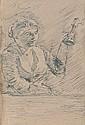 Armand SÉGUIN (1869-1904)  Paysanne avec lampe Dessin à la plume Signé, titré et situé à Pont Aven au dos 20,6 x 14 cm  Ink Signed, dated and located at Pont Aven on the back 8 1/10 x 5 1/2 in.
