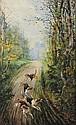 Hippolyte Jean Adam GIDE (1852-1921)  Chiens de chasse Aquarelle Signé et daté 97 en bas à gauche  Titré au verso 91,5 x 57 cm  Watercolor Signed and dated 97 lower left Titled on the back 36 x 22 2/5 in.