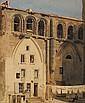 Jean-Henri CHOUPPE (1817-1894)  Vue d'église Aquarelle et crayon Signé en bas à gauche Titré