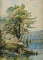 Julien GARNIER (XIXème - XXème siècle) Bord de rivière Aquarelle Signé en bas à droite 55 x 40 cm  Watercolor Signed lower right 21 3/5 x 15 7/10 in.