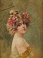 Frédérique VALLET-BISSON (1865-?) Portrait de Geneviève Bouix Pastel Signé en haut à gauche 65 x 49 cm  Pastel Signed upper left 25 3/5 x 19 3/10 in.