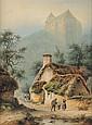 PETIT ? Scène de village animée Aquarelle et légers rehauts de gouache Signé et daté 1817 en bas à gauche 32 x 23,5 cm  Watercolor and gouache Signed and dated 1817 lower left 12 3/10 x 9 1/5 in.