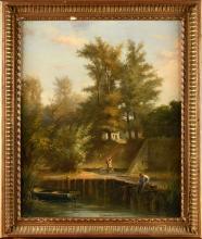 JULES DEFER (1803-1902) PAYSAGE ANIMÉ D'UN PÊCHEUR HUILE SUR TOILE SIGNÉ EN BAS À DROITE 47 X 55 CM