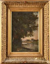 EDMOND RENAULT (1829-1905) PAYSAGE À LA BARQUE HUILE SUR TOILE SIGNÉ EN BAS À GAUCHE 22 X 31 CM AV