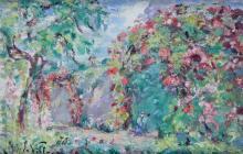 EMMANUEL DE LA VILLEON 1858-1944. La tonnelle fleurie. Huile sur panneau