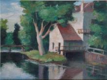 CHARLES KVAPIL 1884 - 1957. Le moulin. Huile sur toile signée en bas à dr