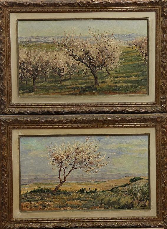 Eugène CARTIER (1861-1943)  Paysages provençaux Paire d'huiles sur toiles signées en bas à droite 24 x 41 cm