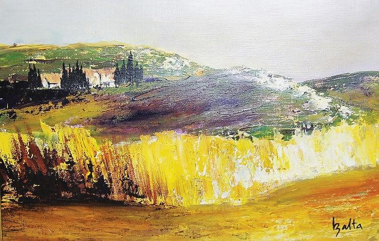 CLAUDE BALTA (1937-1996) Paysage Huile sur toile marouflée sur carton 30  5 x 40  5 cm  Prov
