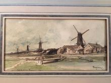Adolphe HERVIER (1818-1879) Paysage aux moulins Plume et encre brune, aquarelle 7 x 13,2 cm Avec cad