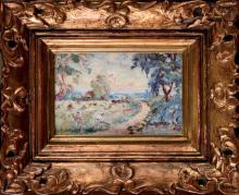 Emmanuel DE LA VILLÉON (1858-1944) Chemin des champs Gouache et crayon sur papier marouflé sur toil