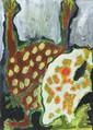 Hubert LE GALL (né en 1961) Composition anthropomorphe Gouache Signé en bas à droite, contresigné et daté au dos 28,5 x 20,5 cm