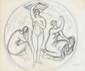 André LHOTE (1885-1962) Les 3 Grâces Dessin au crayon (restaurations) signé en bas à droite 18,5 x 22 cm