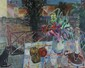 Jean AUJAME (1905-1965) Félix et les Fleurs Huile sur toile Signé en bas à droite et daté 49 74 x 92 cm Etiquette ancienne au dos :  Galerie de Berri n° 3066, Paris