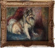 George BAER (1893-1971) Loulou de Poméranie Huile sur toile Signé et daté 29 en bas à gauche 61 x 72 cm Technique post-impressionniste.