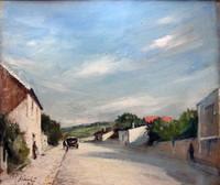 André SINET (1867- ?) Rue de village Huile sur carton signé en bas à gauche et daté 28 32 x 37 cm