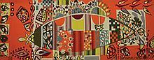 MICHELE VAN HOUT LE BEAU (XXe-XXIe)  Le temps du bonheur Tapisserie numérotée 1/6 Tissée à l'atelier Raymond Picaud Aubusson 156 x 59 cm