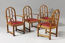 FERNAND NATHAN (attribué à)  Suite de quatre fauteuils en chêne.