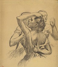 Edgar DEGAS, 1834-1917 Trois danseuses en buste, circa 1898 Dessin au fusai
