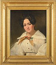 Horace VERNET (1789-1863) Jeune femme en blanc, Rome 1833 Huile sur toile (