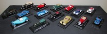 Lot comprenant 15 miniatures au 1/43ème : Bentley, Bugatti, Isotta Fraschini, Daimler, Lagonda, Delahaye, Alfa Romeo, Delage, Talbot Lago, Hispano Suiza, Salmson