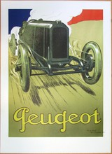Affiche PEUGEOT signée René Vincent, encadrée, 94 x 68 cm, imp Arte Adrien Maeght
