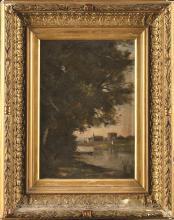 Edmond RENAULT (1829-1905) Paysage à la barque Hui…
