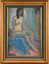 LOUIS LATAPIE (1891-1972) FEMME NUE ASSISE HUILE SUR CARTON ENTOILÉE SIGNÉ 'LATAPIE' (EN BAS À GAUCH