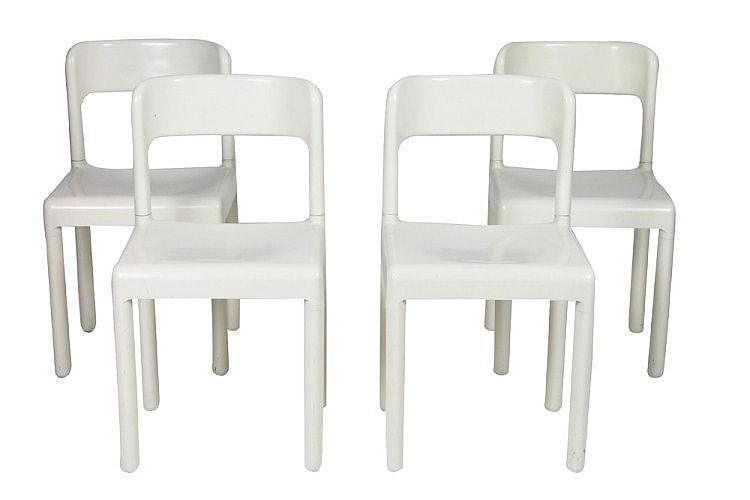 carlo hauner 1927 1997 4 chaises en plastique mod le desc. Black Bedroom Furniture Sets. Home Design Ideas