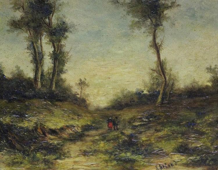 Attribué à Jean Alexis ACHARD (1807-1884) Le ramassage du bois en forêt Huile sur panneau signé en bas à droite 21,5 x 27 cm