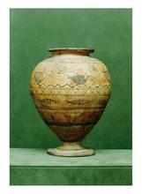 Égypte, époque Copte.  VASE. Terre cuite, décor marin de poissons dans l'eau et d'oiseaux péchant.  H. 20 cm
