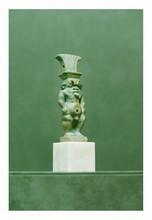 Égypte, époques tardives.  DIEU BES. Faïence verte.  H. 11,5 cm.