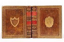 LACROIX Silvestre-François. Traité du calcul différentiel et du calcul intégral. Paris, Duprat, an V (1797) , 2 vol. in-4 de xxxij-519-[1] pp., 8 pp., [2] ff. et [1] f., viij-732 pp., reliures de l'époque, veau blond moucheté, roulettes dorées en