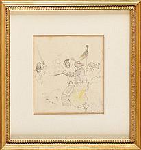 EDOUARD DETAILLE (PARIS 1848 - 1912) « Etude de Dragons et Mameluks de la Garde Impériale » Crayon, aquarelle signé des initiales ED à gauche 11 x 10 cm Sous-verre