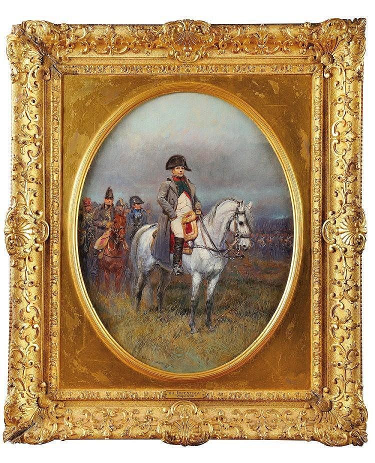 JEAN-BAPTISTE-EDOUARD DETAILLE (PARIS 1848 - 1912) « l'Empereur Napoléon 1er en uniforme de chasseur à cheval de la garde » Signé en bas à gauche « Edouard Detaille» Huile sur toile Important cadre en bois et stuc doré 45,5cm par 35 cm. Les grands
