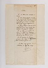 NAPOLÉON IER. Pièce signée « Napole » avec 7 MOTS AUTOGRAPHES, dont le quantième du mois. « En notre camp impérial de Schönbrunn », 14 mai 1809. In-folio étroit, 310 x 117 mm, montage postérieur sur feuillet de papier de l'époque filigrané à l'aigle