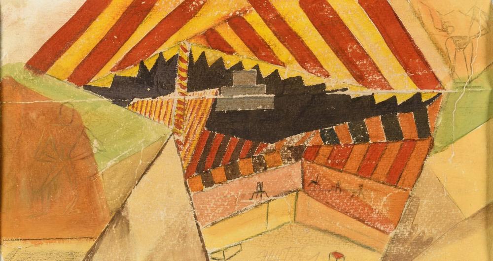 EISENSTEIN SERGUEÏ (1898-1948) Projet de scène Technique mixte sur papier Signé en ba