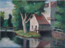 CHARLES KVAPIL 1884-1957. Le moulin. Huile sur toile. Signée en bas à droite. 55 x 73 cm
