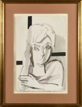 FRANÇOISE GILOT (Née en 1921) Autoportrait Encre sur papier Signé 'F. Gilot' (en bas à droite)